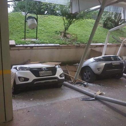 Teto de garagem cai e esmaga 25 carros em prédio residencial no Distrito Federal