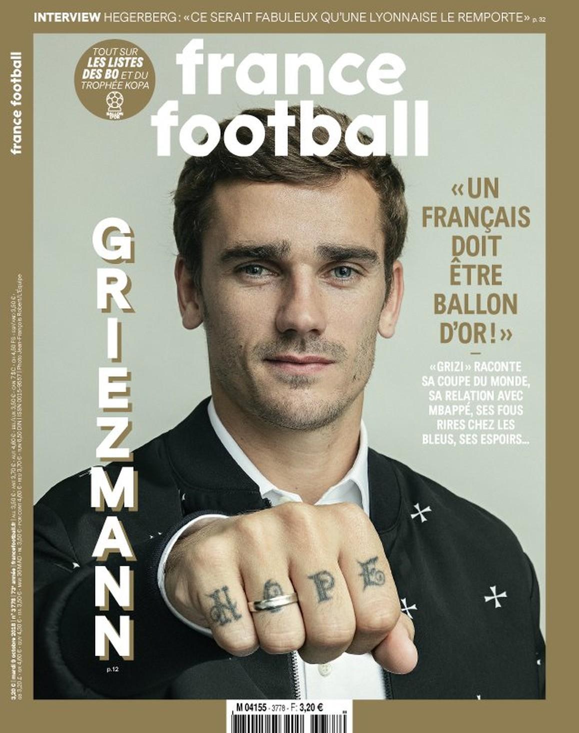 """France Football dá destaque a Griezmann na capa: """"Um francês deve ganhar a Bola de Ouro"""""""