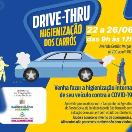 Prefeitura de São Bernardo promove drive-thru de higienização veicular contra o Coronavírus