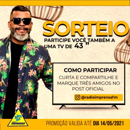 PROMOÇÃO ALMIR MATTIAS + RADIO IMPRENSA FM = VOCÊ COM UMA TV DE 43″
